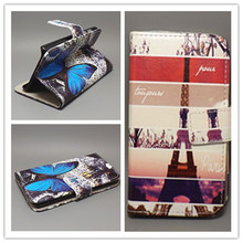 New Butterfly Flower Flag Designer Wallet Flip Stand Book Cover Case For Huawei U8836 G500 U8836D free shpping