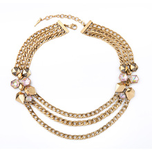 Egypt Online Store Trendy Three Layers Necklace Sweater Chain Gold Color Filled Perfume Women Joyas(China)