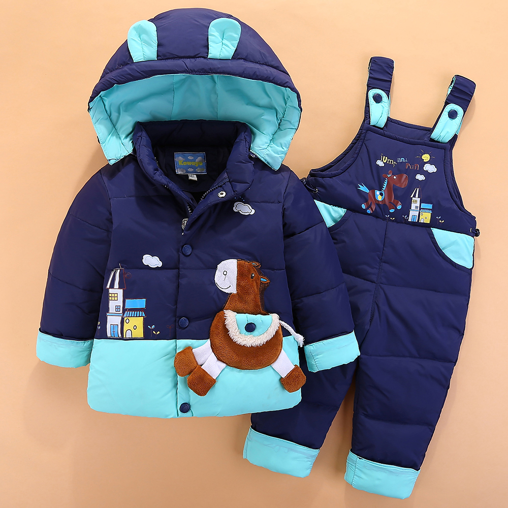 2017 Winter Children Clothing Sets Kids Duck Down Jacket Sets Baby Girls Boys 2-3-4Yrs Pants-jacket Hooded for Russian Cold -20C<br>