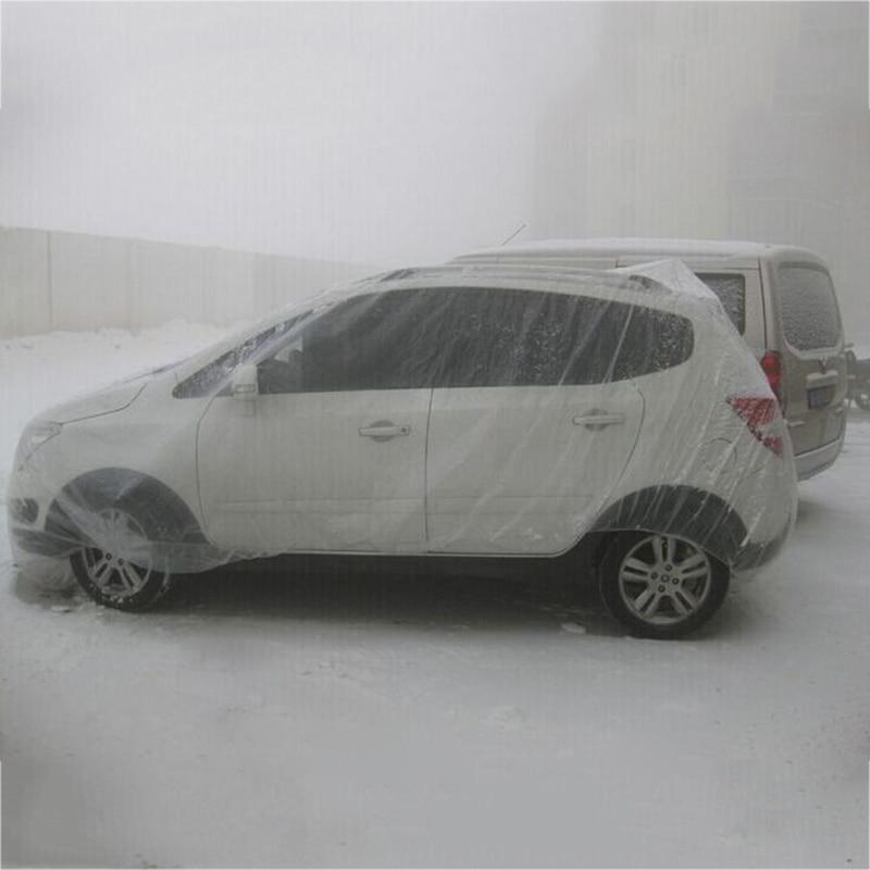 ครอบคลุมรถยนต์พลาสติกPEฟิล์มใสฝุ่นทิ้งรถปกทิ้งฝาครอบกันน้ำ 5
