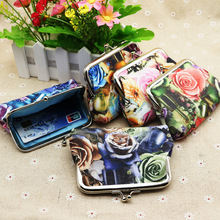 Free ship!1lot=15pc!Cute flower canvas coin wallet / small hasp Purse / creative advertising cards bag /mini pouch/pencil bag