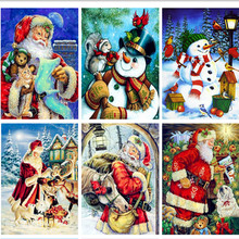 NEW Arrival Full Diy Round Diamond Painting Embroidery Cross Stitch Santa Claus For Christmas Gift Diamond Mosaic Art Decoration