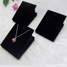 10PCS/LOT Wholesale Price Wooden Black Velvet Jewelry Display for Necklace Pendant Stand Holder