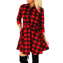 2017 Winter Autumn Dresses Women Plaid Check Print Casual Shirt Dress Mini Vestidos Mujer Explosions Vintage Party Dresses Robe