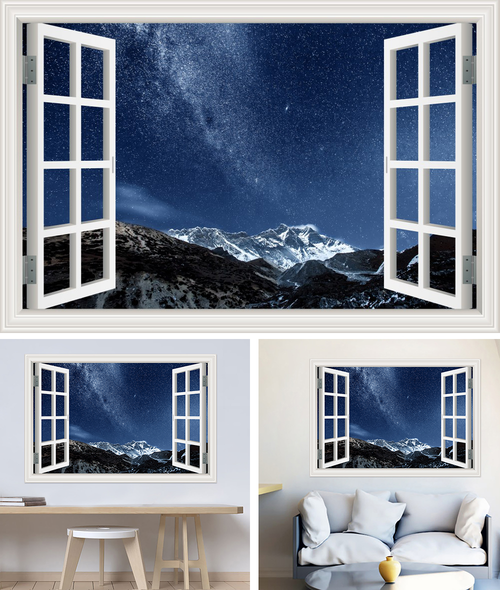 HTB1cG Ch4HI8KJjy1zbq6yxdpXaK - Modern 3D Large Decal Landscape Wall Sticker Snow Mountain Lake Nature Window Frame View For Living Room