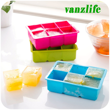 vanzlife creative silicone ice trays summer Icy Cola large ice mold six grids squares ice-pop mold, green, blue, red, yellow