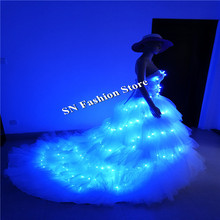 SS8 LED light women dresses party event blue light dress ballroom dance costumes stage show club singer wears wedding dj cloth