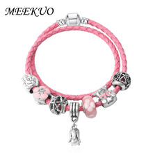 MEEKUO European pandora Bracelet for Women Luxury Brand Bear Beads Leather Bracelet fit Young Students Girl For Jewelry Gift(China)