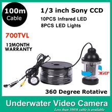 100M Cable Underwater CCTV Camera 360 degree Detection CCTV Camera 10PCS Infrared LED 700 TVLINES Underwater  View Camera
