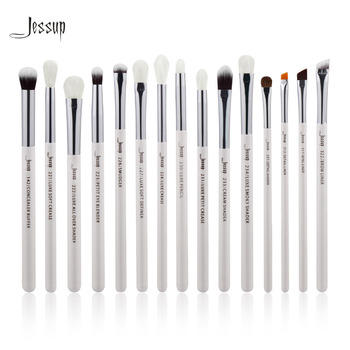 Jessup Marque Perle Blanc/Argent Professionnel Maquillage Pinceaux Make up Brush Outils kit Eye Liner Shader naturel-synthétique cheveux
