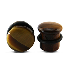 1Pair Mix size Brown Tiger Eye Organic Stone Plug and Tunnels Domed Single Flare Ear Plugs with Double Flare Gauges Body Jewelry