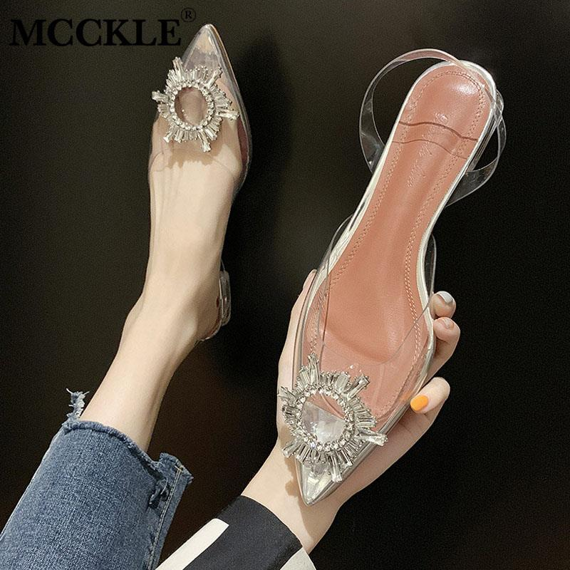 MCCKLE Crystal Sandals Footwear Transparent Shoes Jelly Slip-On Clear Pointed-Toe High-Heels title=