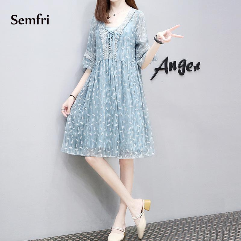 Semfri Blue Printed Chiffon Dress Women Summer Sexy V Neck Short Sleeve Dress Plus Size 5xl Ladies Sweet Clothes Streetwear 2019 11 Online shopping Bangladesh