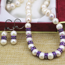 Natural 9-10mm white nearround pearl beads chain necklace dangle earrings purple crystal spacer women jewelry set 18inch B3109