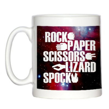 Funny Galaxy Rock Paper Scissors Lizard Spock Coffee Mug Novelty Sheldon Cooper Game Rule Ceramic Mugs Cup Big Bang Theory Gifts(China)