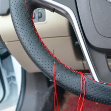 LUNDA 1pcs Black DIY Car Steering Wheel Cover With Needles and Thread Genuine Artificial leather Steering Covers