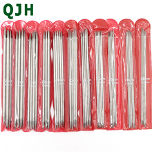 QJH 2017 NEW 11sets 55PCS of 20cm Straight Stainless Steel Double Pointed Sweater Crochet Knitting Needles 2.0mm-6.5mm (Silver)