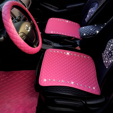 Buy Simple Studded Crystal Leather Car Seat Cushion Woman Universal Auto Front Seat Pads Rhinestone Rear Seat Covers for $26.18 in AliExpress store