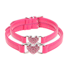 PU Dog Collar Bling Heart-shaped Rhinestone Adjustable Pet Dog Puppy Necklace S M Size Cat Collar Pet Dog Supplies