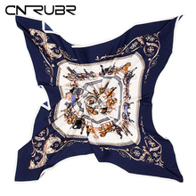 CN-RUBR100*100 100% Twill Silk Euro Brand Royal Household Horse Carriage Trip Women Square Scarf Spring Hot  Female Scarve Shawl
