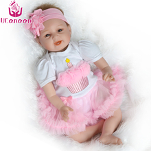UCanaan 22 inch Silicone Reborn Babies Dolls Brinquedos Dolls For Girls Vinyl Realistic Doll Reborn Kids Christmas Gifts Toys(China)