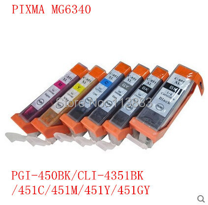 18 ink PGI-450 BK CLI-451 BK C M  Y GY 6 COLOR compatible ink cartridge for canon PIXMA MG6340 MG7140 iP8740 MG7540 printer<br><br>Aliexpress