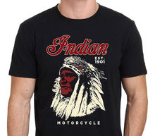 GILDAN man t-shirts INDIAN MOTORCYCLES Est.1901 Vintage logo   Summer Short Sleeves Cotton T-Shirt