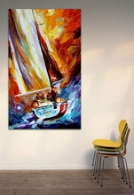 Sailing Boat Wave on Ocean 100% Hand Painted Canvas Oil Painting Wall Pictures for Living Room Bedroom