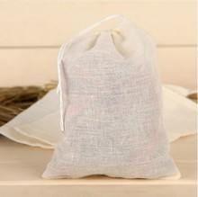 50pcs/lot Cotton Drawstring Strainer Tea Bag Spice Food Separate Filter Bags For Drinking Tea Tools 13*16cm(China)