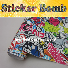 Fantastic Style! USDM Hellaflush Sticker Bomb Vinyl Air Free Bubble For Car Wrapping Size:1.50*30m/Roll(China)