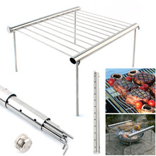 Portable Stainless Steel BBQ Grill Folding BBQ Grill Outdoor Picnic Camping BBQ Tool Set(China)