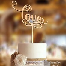 free shipping new font love Wood Cake Topper Rustic for wedding