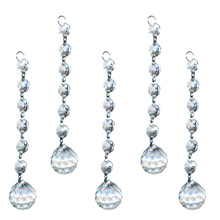 10 pcs/bag Clear Crystal Chandeliers Pendants 20mm Faceted Ball Wedding Decor Chain Drop Prisms Home Hanging Ornaments Accessory
