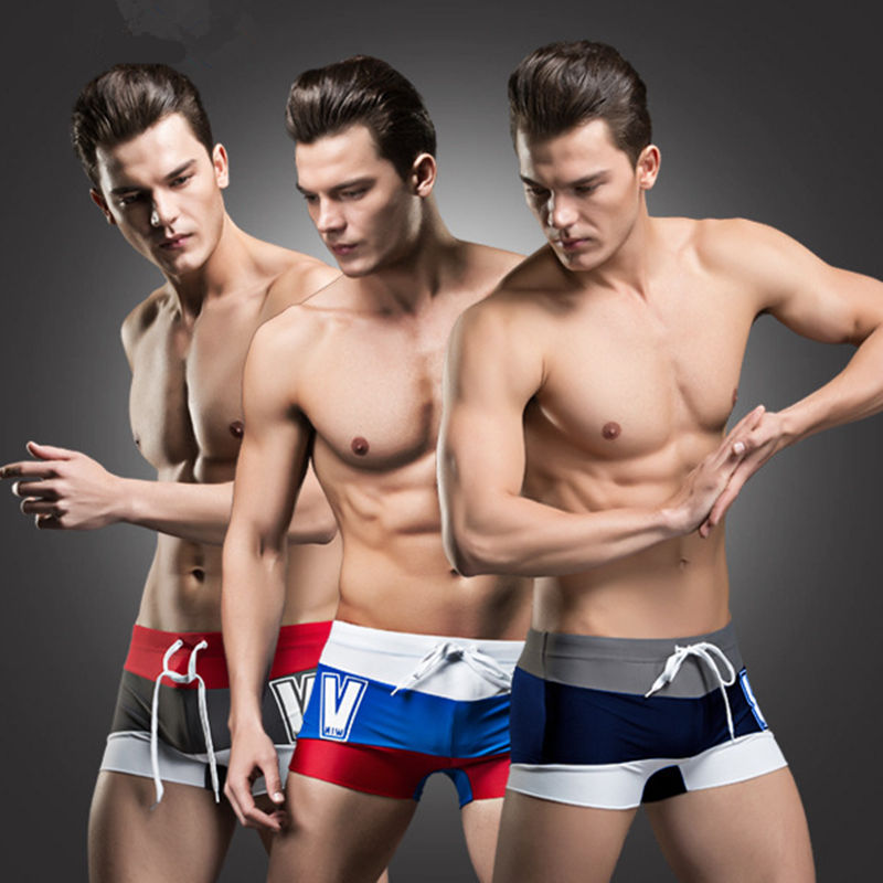 New 2016 Summer Swimwear Men Low Waist Swimsuit Fashion Spell Color Striped Bathing Suit Male Boxer Swimming Trunks Beach Wear(China)