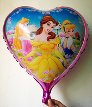 "1pc Cartoon heart PRINCESS Balloon, Girl Lady Birthday Party Balloon,kids party gifts, 18"" inch mylar balloons, free shipping"