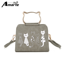 Amarte Women Handbags 2017 New Fashion Women Scrub Leather Shoulder Bags Cute Cartoon Cats Printed Small Crossbody Bags for Girl(China)