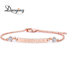 Buy DUOYING Crystal 30*4 mm Bar Bracelet Custom Engraved Name Personalized Initial Bracelet Zirconia Bracelet Women Etsy for $6.82 in AliExpress store