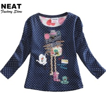 2017 Retail Children's T-shirts Baby Girls Clothes Long Sleeve T-Shirts Cotton Knit T-Shirts Dot Girl Shirts Neat Nova F2101 Mix