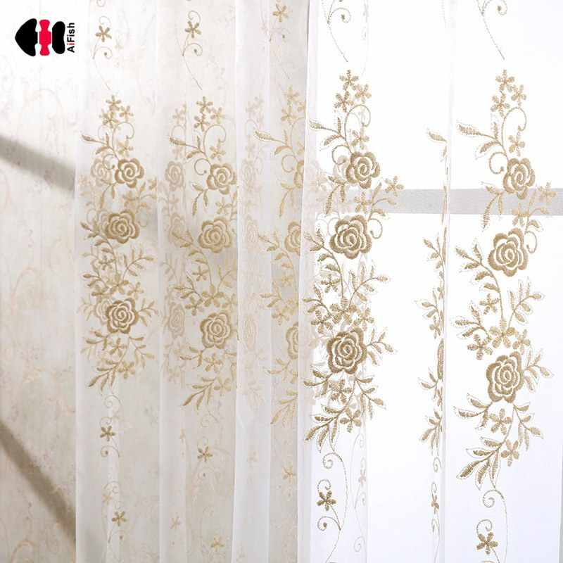 Golden Embroidered Floral Voile Curtains Pastoral Rural Living Room Study Room Elegant Nordic Window Drape JS13C