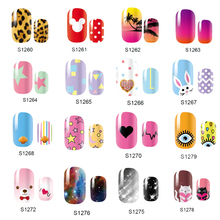 NEW Cute 14 Tips Self Adhensive Nail Wraps Full Cover Foil Galaxy Nail Tips Mixed Styles Nail Sticker Decals(China)