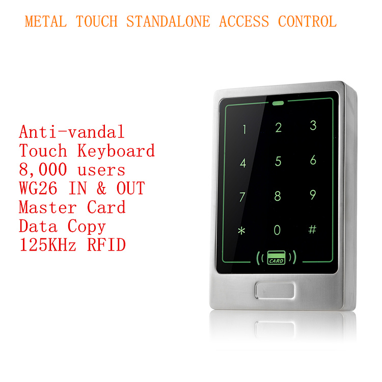 2016 New Arrival 125Khz RFID &amp; PIN Metal Touch  Standalone Access Control with 8,000 Users<br>