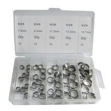 50 PCS Stainless Steel 304 Single Ear Hose Clamps Assortment Kit(China)