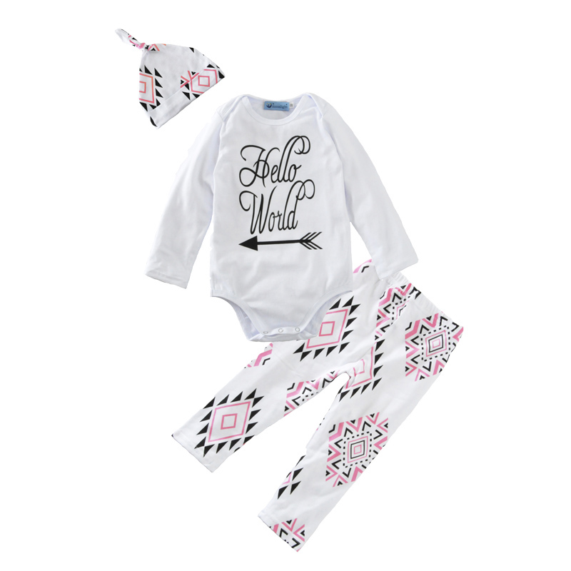 baby girl clothing sets 2017 new letter hello world rompers+geometry pants+caps/hats 3pcs girl clothes arrow girls clothing set<br><br>Aliexpress