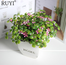 Decorative Mini Grass+Flowers Bonsai/Miniascape/Potted Arranging Accessories Simulation Plant Artificial Leaves 6pcs/lot
