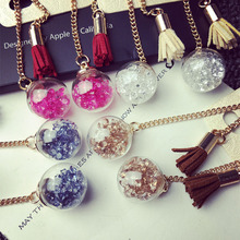 LUCKY YEAR 4 Colors Wishing glass ball Shine drill velvet Faux Suede fringed long earrings Drop hanging earrings female