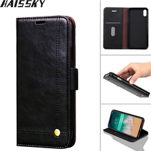 Haissky Vintage Leather Phone Case For iPhone X 8 7 7 Plus 6 6S Plus 5 5S SE Flip Case Luxury Magnetic Card Slot Wallet Cover(China)