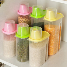 2 Pieces Per Set With Cover PP Food Tank With Scale Cup Grains Storage Container Creative Kitchen Accessorie Food Storage Box