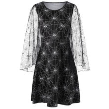 Gamiss Autumn Halloween Spider Web Print Sheer Dress Women Sexy Flare Sleeve  Lace Loose Gothic Mesh Dress Big Size 2XL 394c59a7d4e2