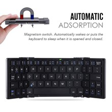 New Aluminium Folding Mini Bluetooth 3.0 Bluetooth Keyboard Foldable case for iOS Android  Windows  PC Tablets Smartphone