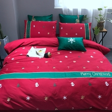 Christmas Duvet Cover Sets 100% Egyptian Cotton Red Bedding Sets For Adults Snowman and Trees Embroidery Duvet Cover Bed Sheets